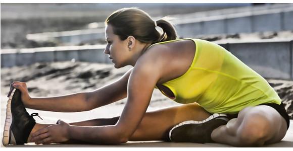 Atleta estirando